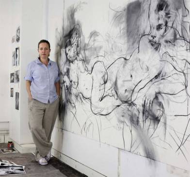 The artist Jenny Saville in her Oxford studio