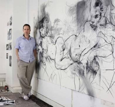 The artist Jenny Saville in her Oxford studio
