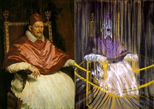 Left, 'Pope Innocent X' by Velasquez, 1650. Right, 'Study after Velasquez Portrait of Pope Innocent X' by Francis Bacon, 1953. The Anglo Irish painter revisited the portrait last century.
