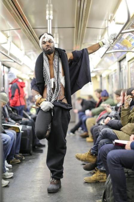 Photographed on the subway. Impressed by his unusual outfit, Stanton asked him if he was here for New York Fashion Week. He replied that- no, he'd just gotten out of prison the clothes were what he'd been wearing for the past fortnight. Image credit: Brandon Stanton