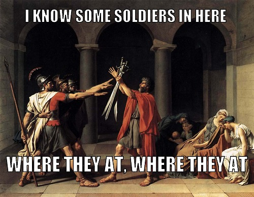"Jacques-Louis David, ""Oath of the Horatii""/ Beyonce, ""Soldier"""